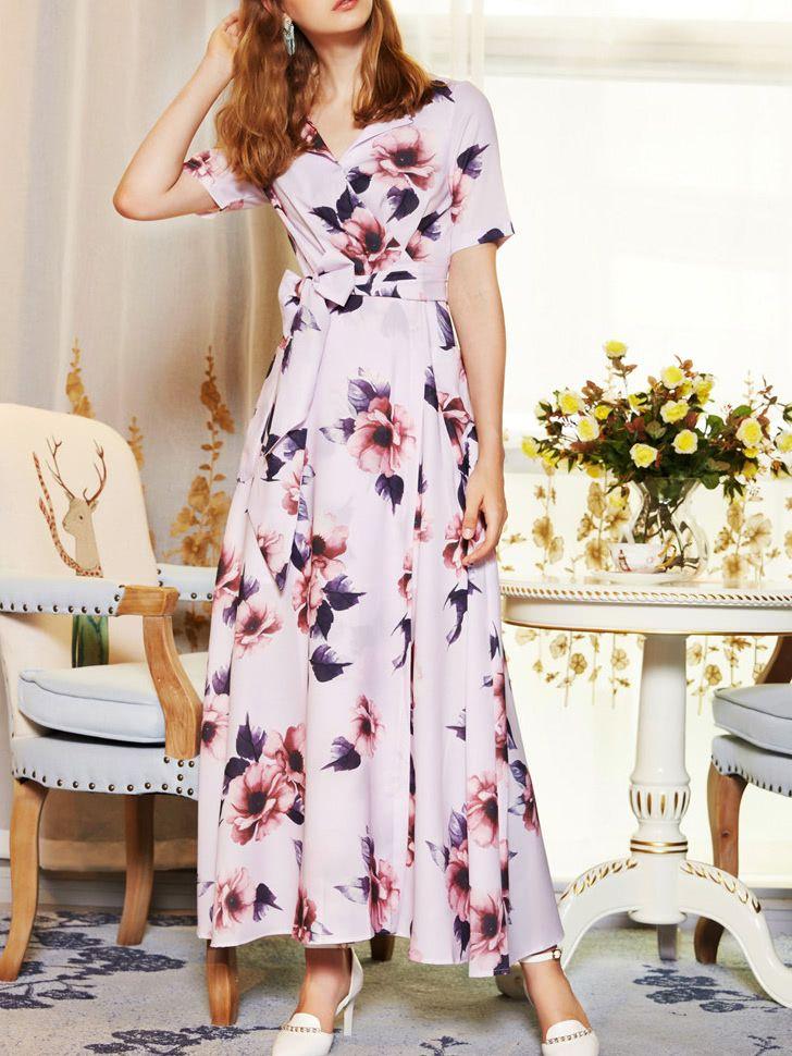 V Neck Bowknot Flowers Print Dress -SheIn(Sheinside)