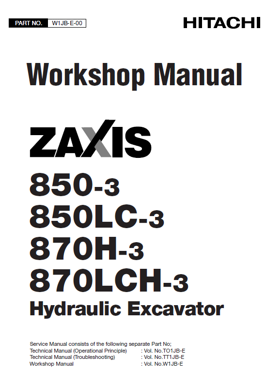 Hitachi Zx850 3 And Zx870h 3 Excavator Service Manual Hitachi Hydraulic Systems Excavator
