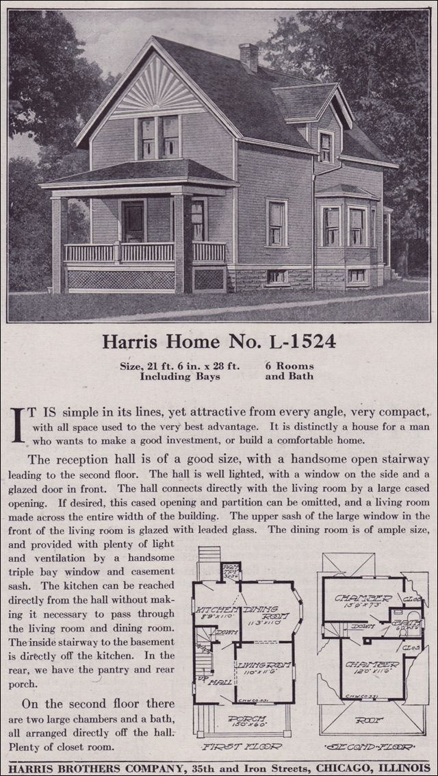Plan L-1524 - Late Queen Anne Farmhouse - c. 1918 - Harris Bros. Co on old world courtyard home plans, country house plans, old house blueprints and plans, traditional house plans, this old house classics,