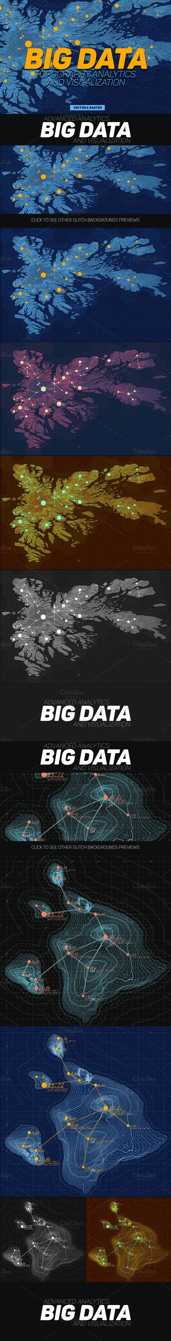 Big Data Maps Backgrounds. Graphic Design Infographics. $15.00