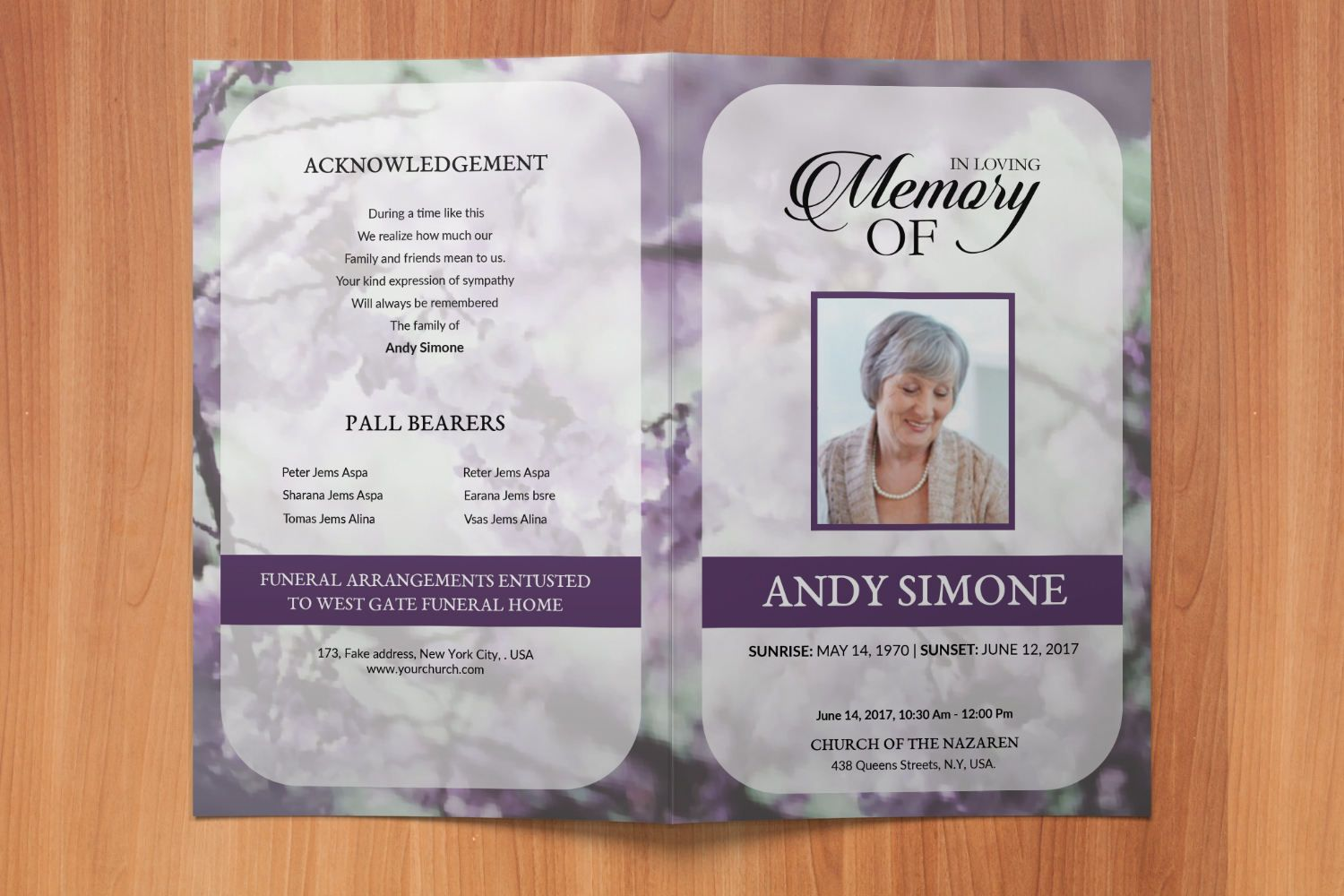 Funeral Program Template Memorial Obituary Template  Editable