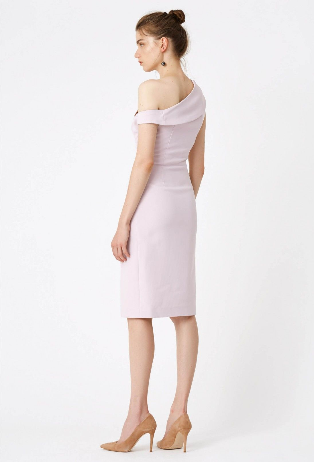Didion Structured Knee Length Dress Pale Lilac Knee Length Dress Dresses Fitted Midi Dress [ 1612 x 1096 Pixel ]