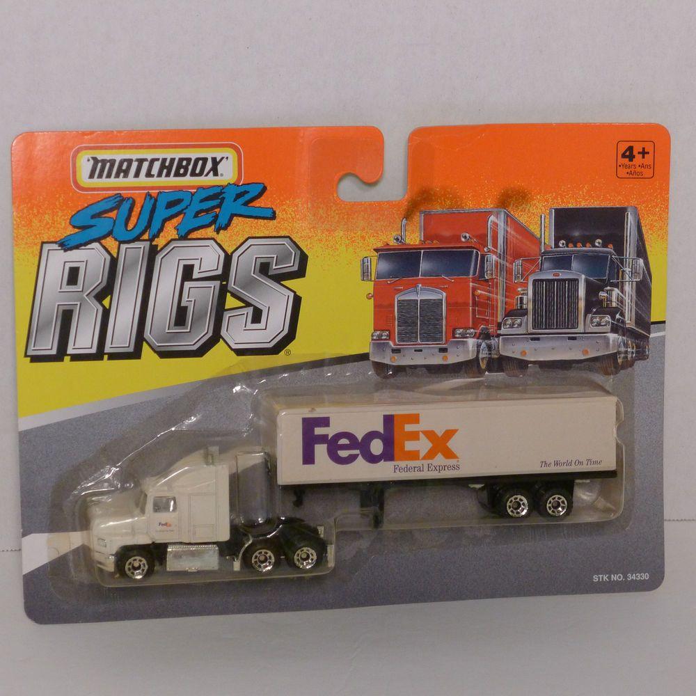 vintage 1996 matchbox super rigs tractor trailer fedex