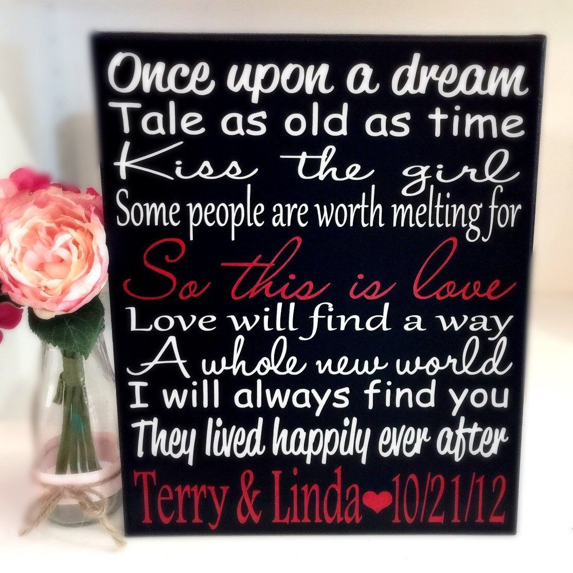 Disney Wedding Quotes Disney Wedding Valentines Day Song Sign Home Decor Art Print