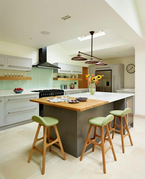 moderne küchen mit kochinsel und grüne akzente Küche Möbel - kuechen mit kochinsel