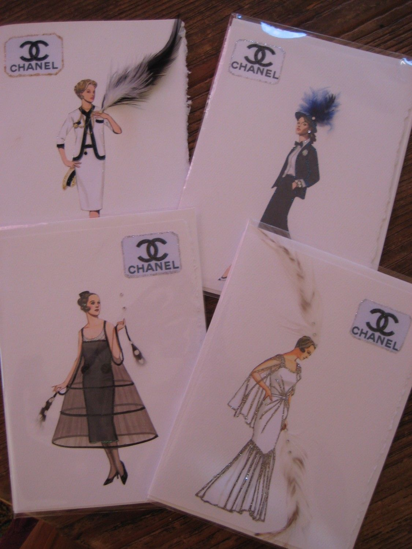 e35ca136c298 4 Coco Chanel fashion print note cards boxed set 5.  25.00