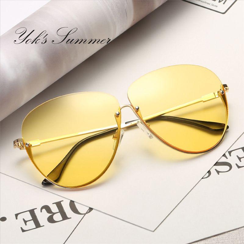 e4216ad97 Yok's Summer Gradient Oversized Sunglasses Men Brand Big Yellow Half Frame Sun  Glasses Pink Clear Lens Clear Women Eyewear WL002
