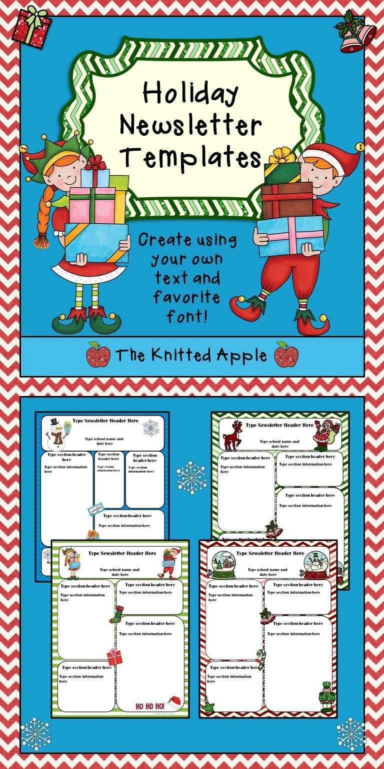 free newsletter templates in festive holiday themes the knitted apple tpt store pinterest. Black Bedroom Furniture Sets. Home Design Ideas