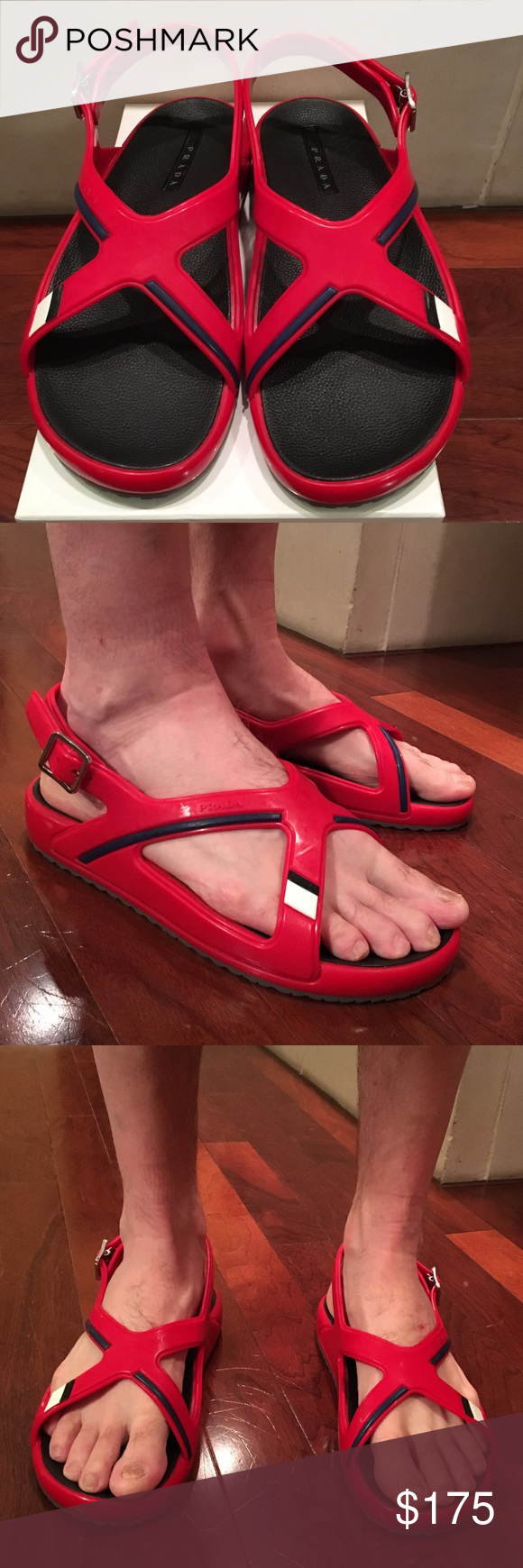 d5ab6ff07d99 Prada Men s Crisscross Sandals Rubber Red and Blue Brand new men s Prada  sandals. These are labeled a size 9 but they run really big and fit more  like a 12.