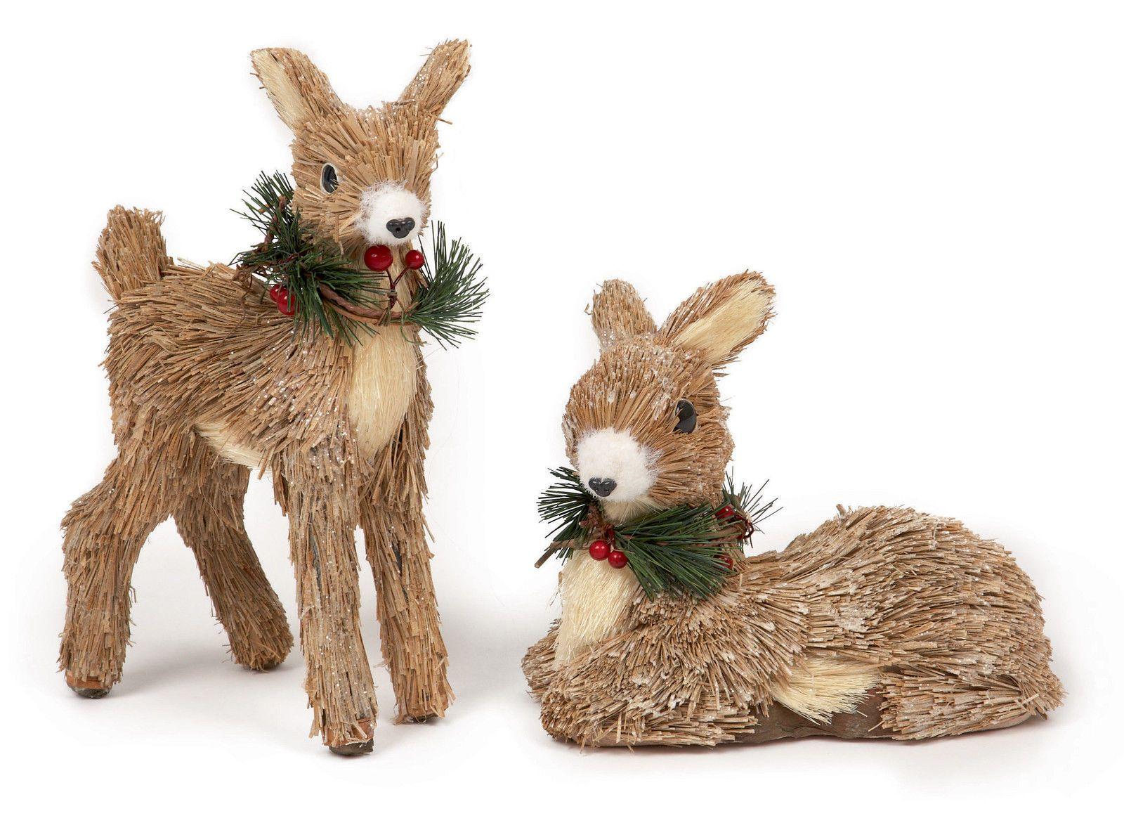 Premier Rustic Straw Reindeer 25cm And 18cm Christmas Decoration Christmas Decorations Reindeer Rustic Christmas