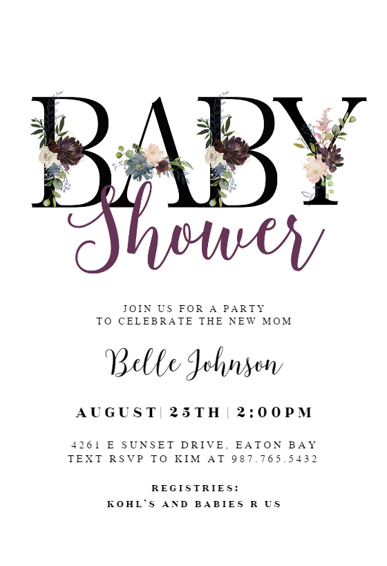 Floral Letters Baby Shower Invitation Template Free Greetings Island Baby Sprinkle Invitations Floral Baby Shower Invitations Baby Shower Invitation Templates