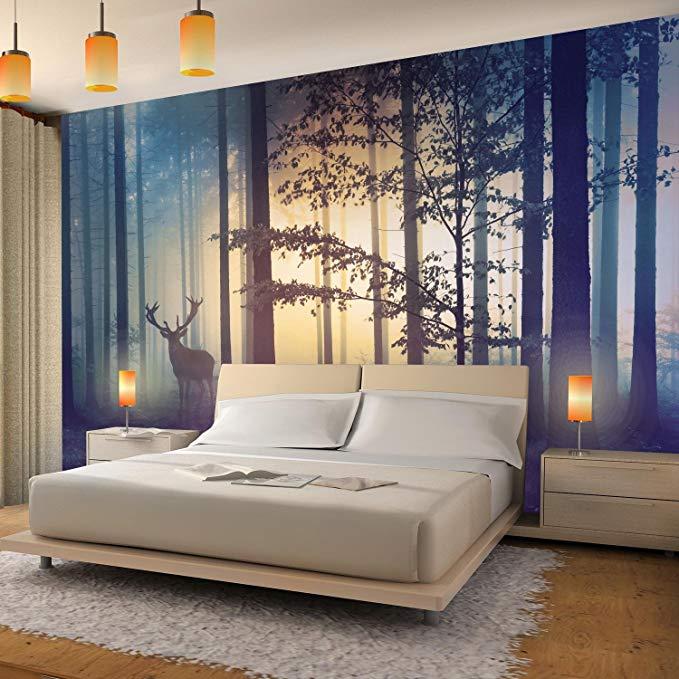 Fototapeten Wald Hirsch 352 X 250 Cm Vlies Wand Tapete