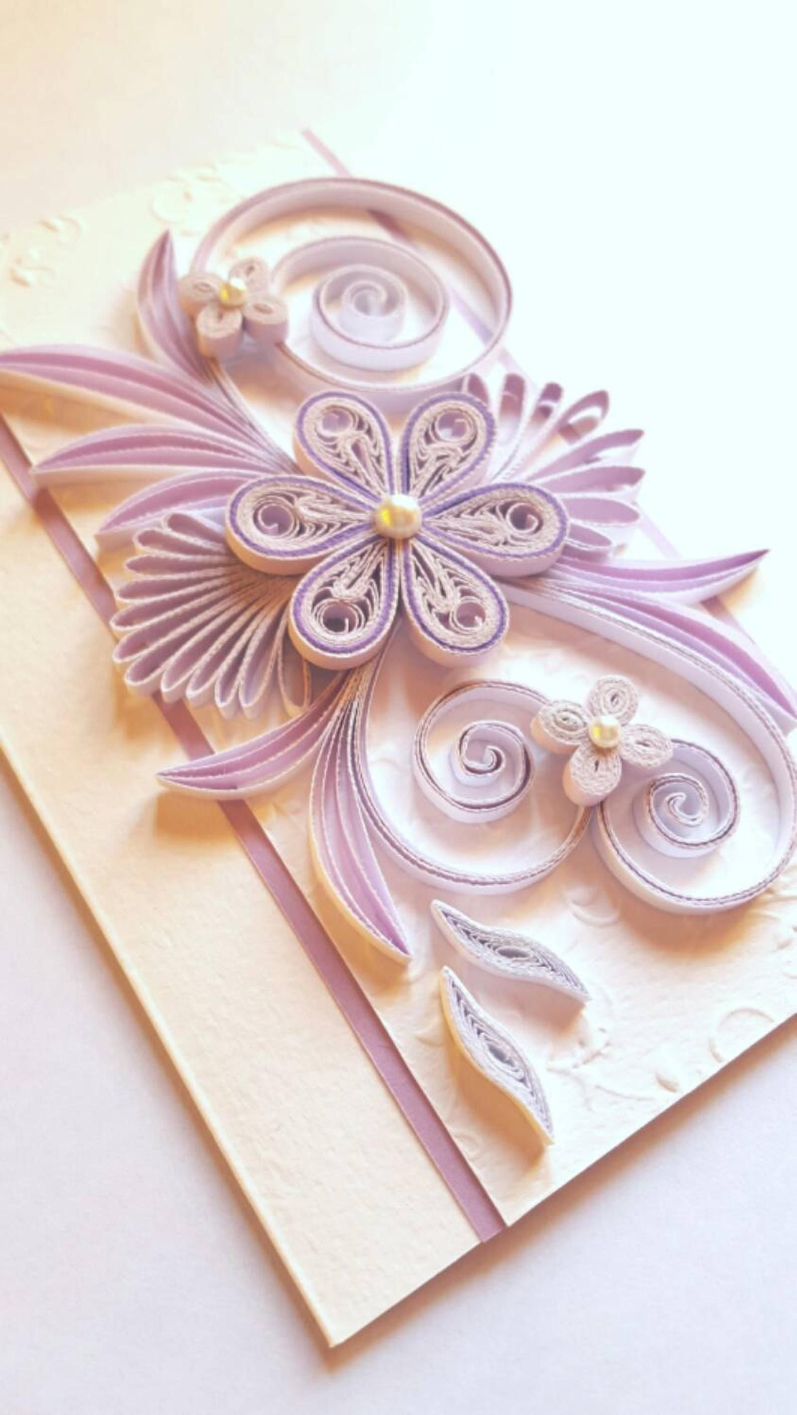 Elegant Handmade Birthday Card Flowers Design Quilling