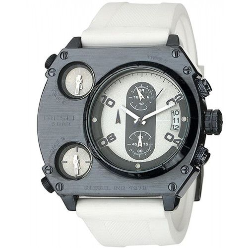 c33a9751c92c DIESEL DZ4199 PR STORY OVERSIZED 3 TIME ZONE CHRONOGRAPH WHITE LEATHER WATCH
