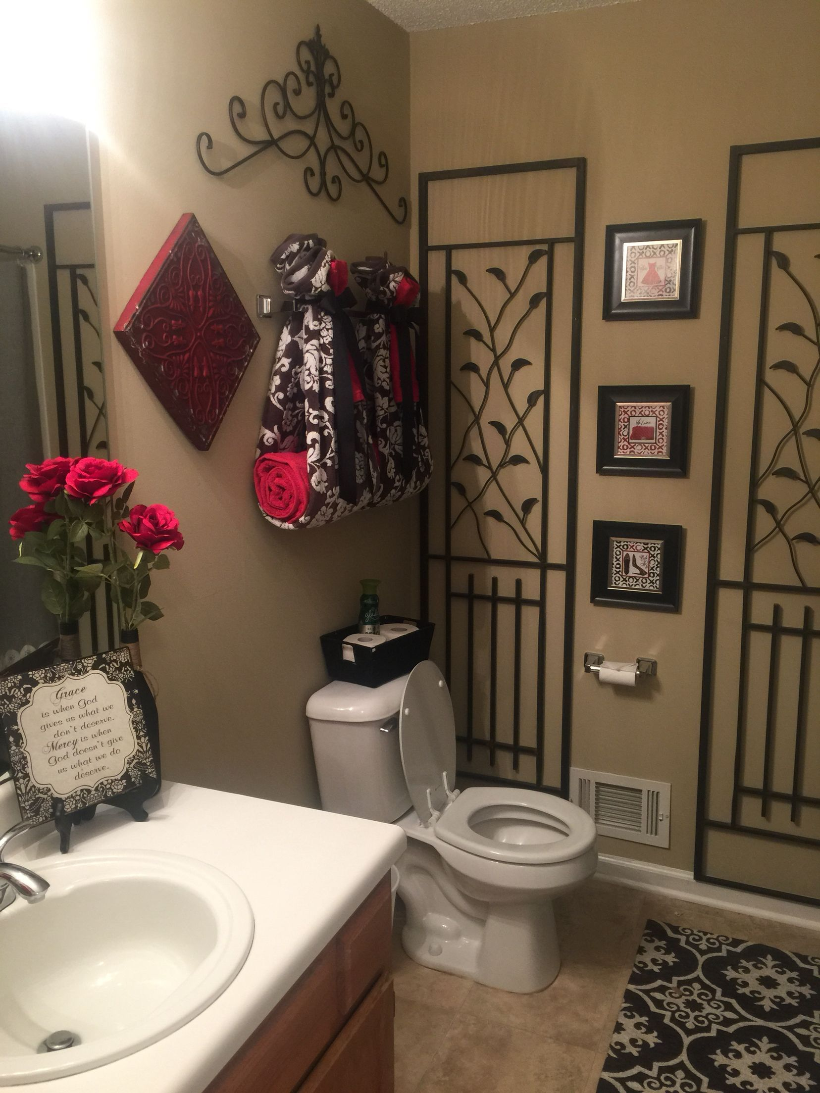 Red And Black Bathroom With Images Black Bathroom Decor Red