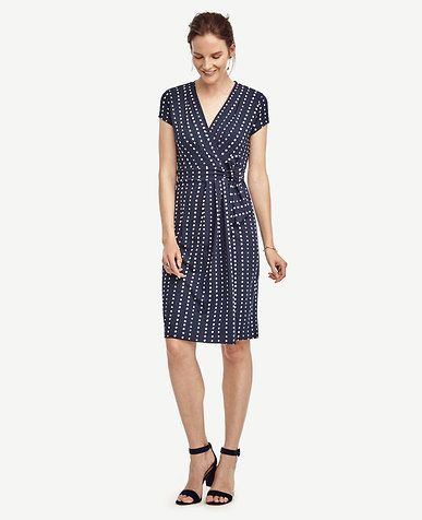 Tall Dot Pleated Wrap Dress #AnnTaylor | Elements of Style | Pinterest