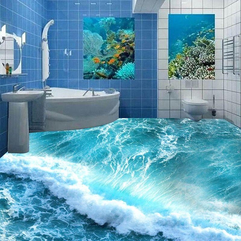 Custom Boden Wandbild 3d Stereoskopischen Ozean Meerwasser Schlafzimmer Bad Boden Tapete Pvc Wasser Bodenbelag Fur Badezimmer Badezimmer 3d Badezimmer 3d Boden