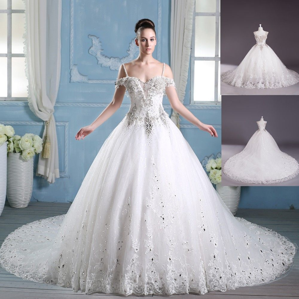 Long Tail Off Shoulder Luxury Crystal Wedding Dress With