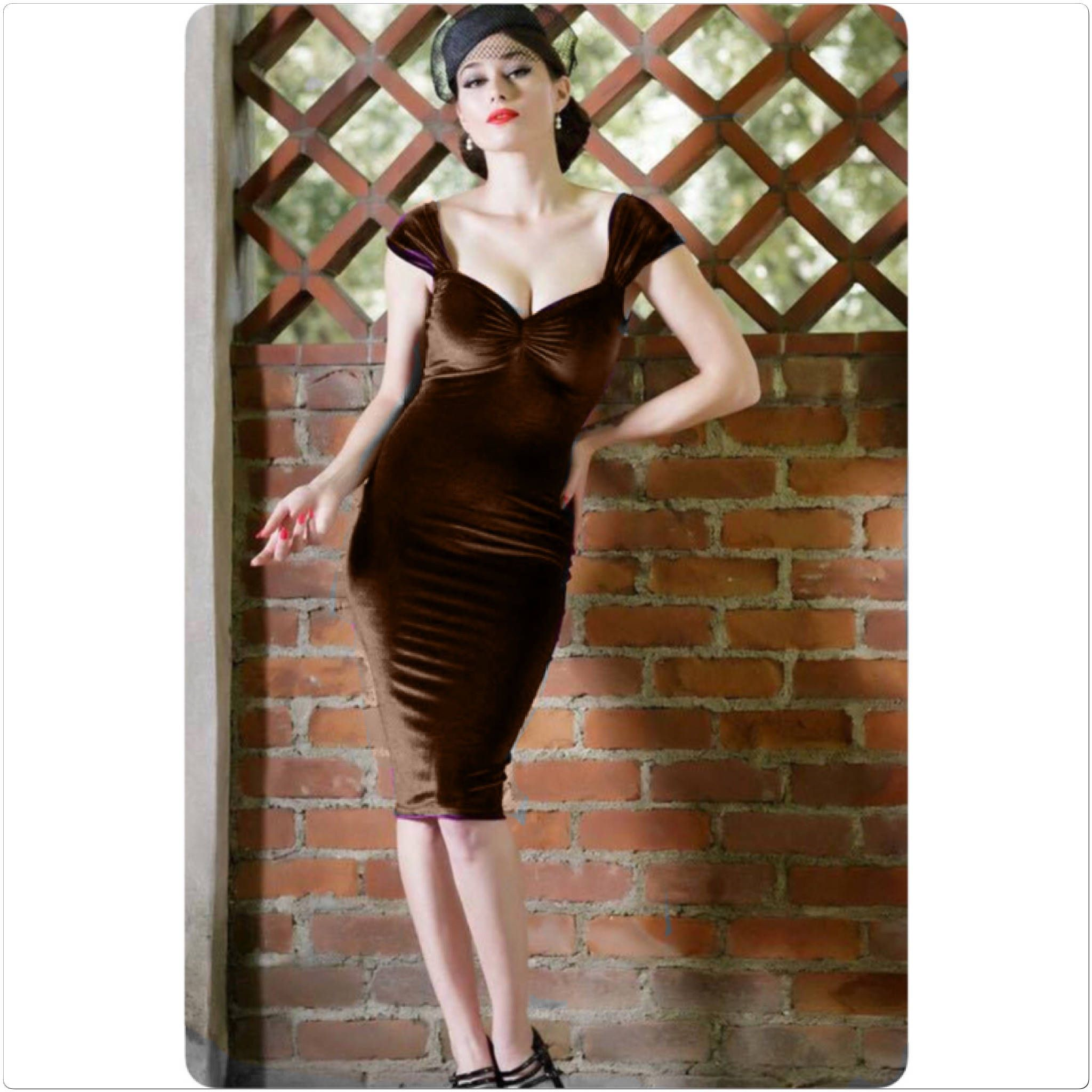 Ready to Ship! Misses Size XL Chocolate Brown Velvet Pencil Dress ...
