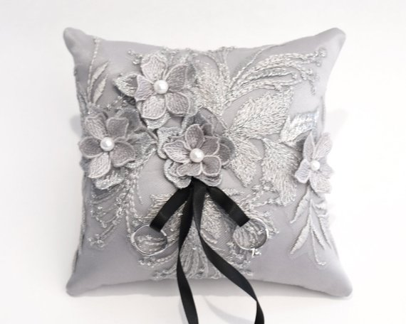 Wedding Ring Pillow Wedding Cushion With Gray Lace Detail Ring