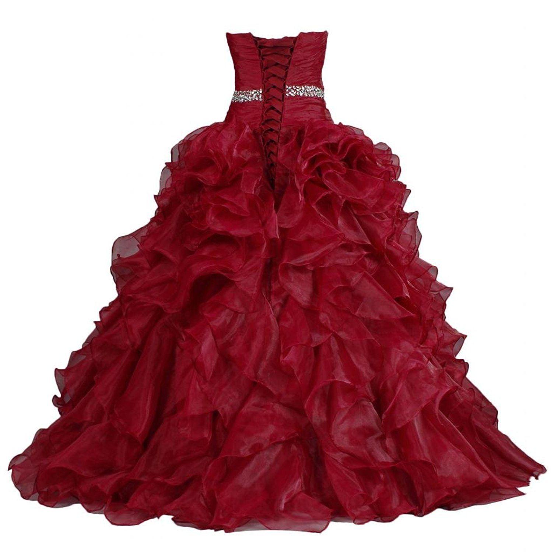 Ants womenus pretty ball gown quinceanera dress ruffle prom dresses