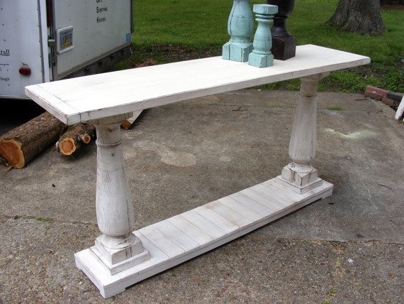 console table handcrafted shabby white with balustrade legs kleiner flur pinterest tisch. Black Bedroom Furniture Sets. Home Design Ideas