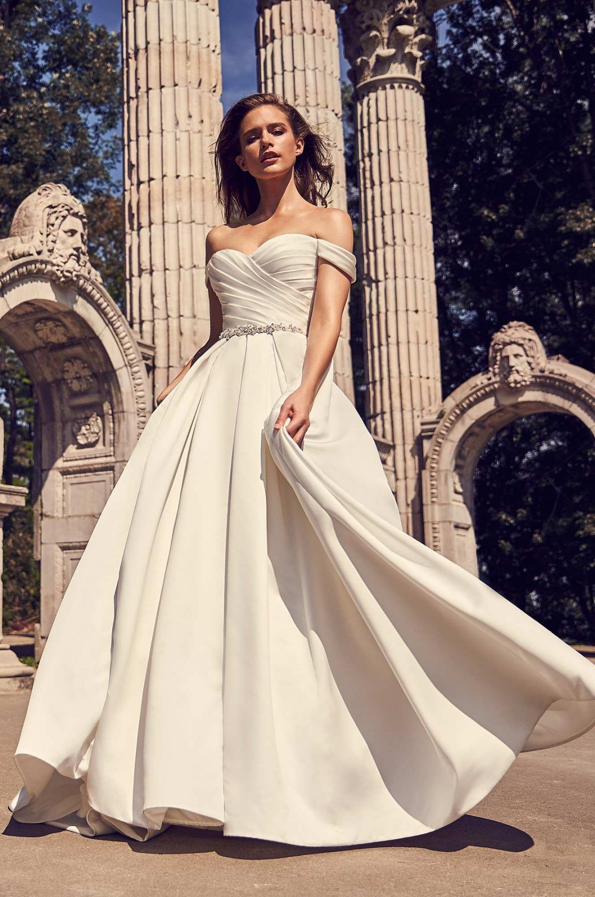 c58e02c1b73 Off the shoulder satin ball gown sweetheart neckline wedding dress.