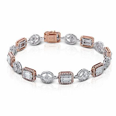 "Simon G 18K White & Rose Gold ""Simon Set"" Diamond Mosaic Bracelet"