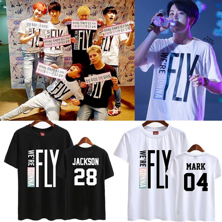 KPOP GOT7 Tshirt Bambam JB JR Mark Youngjae Jackson T-shirt Tee Fly Tops Cotton