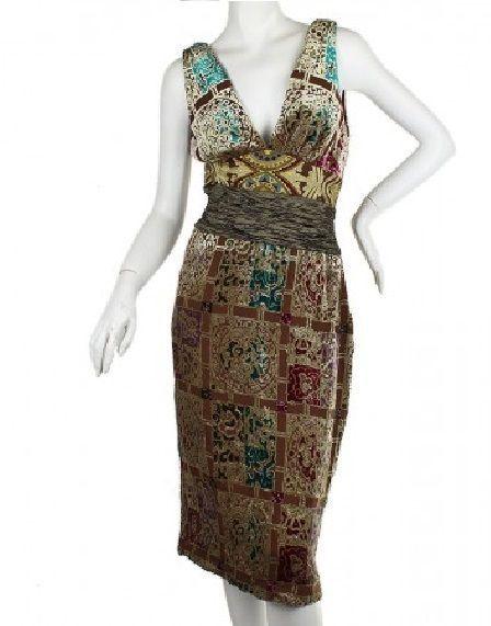 93d605e95e946c 4) NICOLE MILLER - Womens Silk Velvet Burnout Multi-color Dress - Holiday  Party #NicoleMiller #Sheath #Cocktail