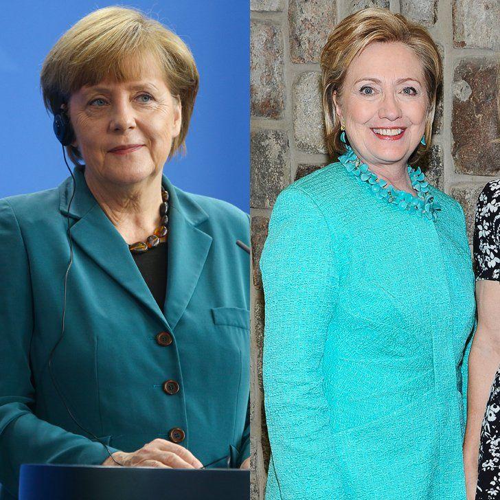 Pin for Later: Angela Merkel oder Hillary Clinton: Wer ist modischer? Türkis/Petroleum
