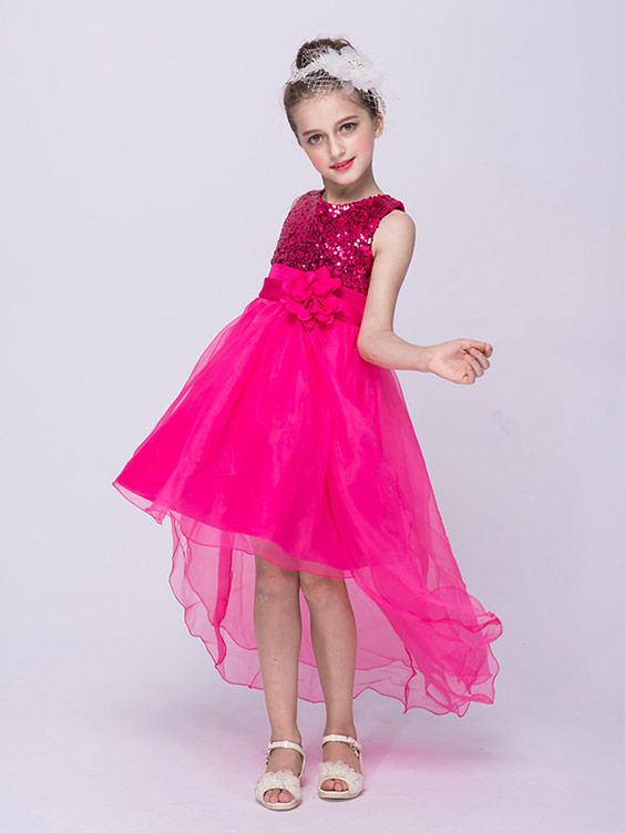 $36.9 Lime Green High Low Tulle Flower Girl Dress With Sequins Top ...