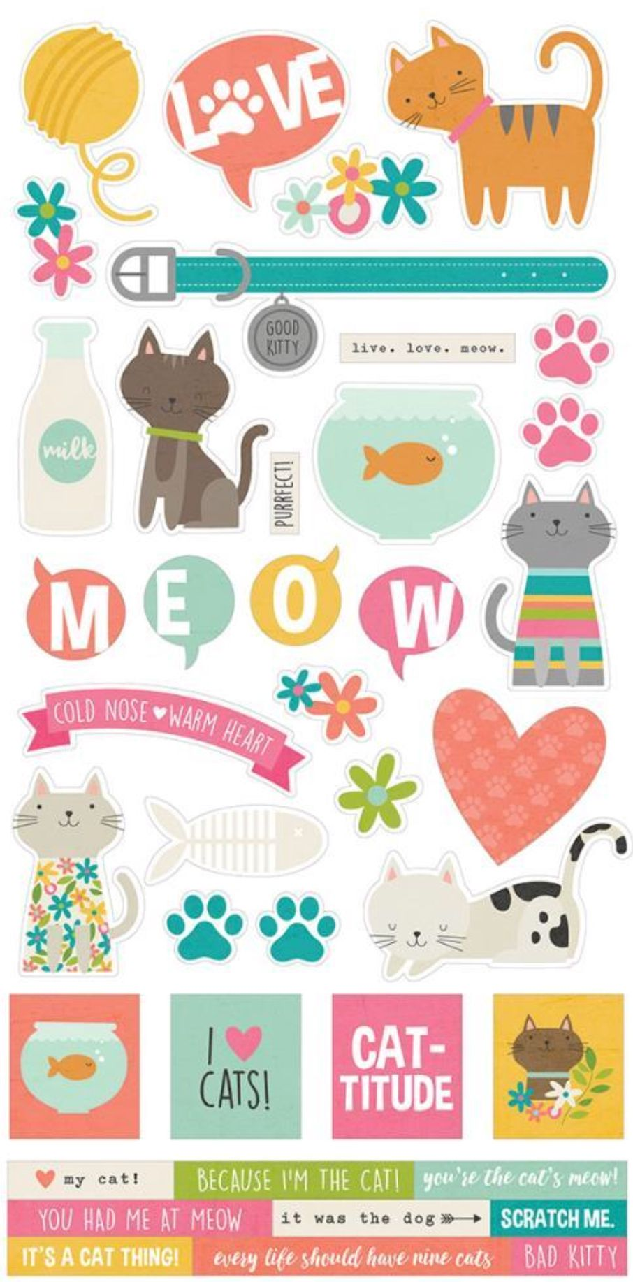Simple Stories Cat Stickers Stickerz Cat Stickers Printable