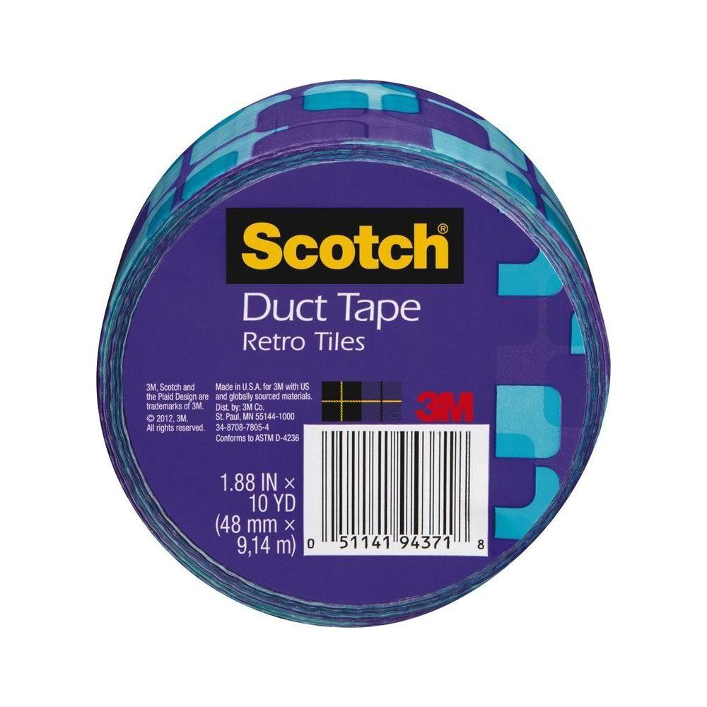 3m scotch 1 88 in x 10 yds violet retro tiles duct tape multi rh pinterest com