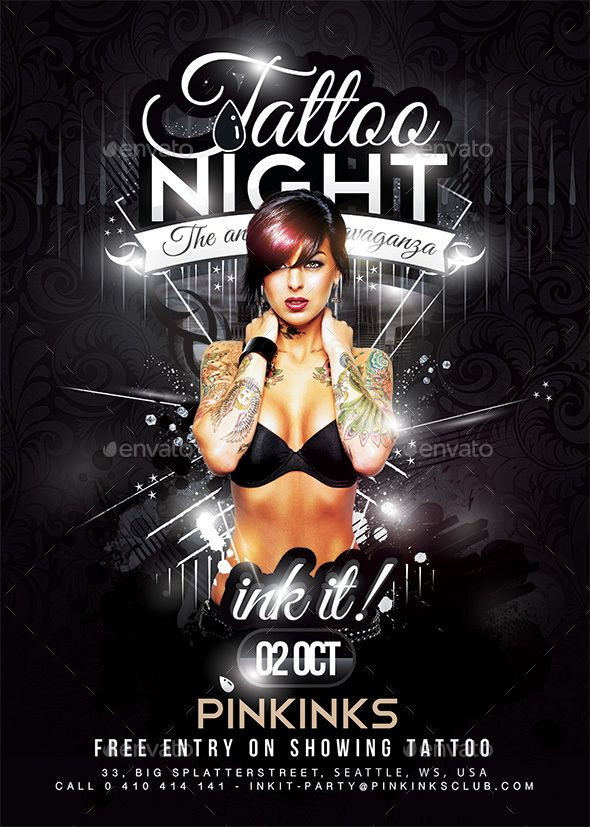 Tattoo Party | Flyer Template, Party Flyer And Tattoo