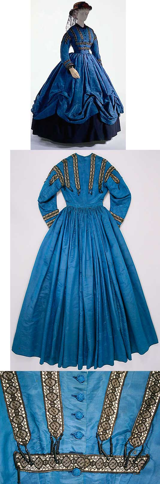 French silk dress, circa 1864. American walking dress, c. 1864, of blue watered…