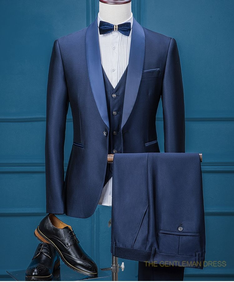 2018 Latest Coat Pant Designs Navy Blue Formal Slim Fit Custom Made Groom  wedding For Men Tailored Suits Blazer Terno Masculino 2858270ff25d