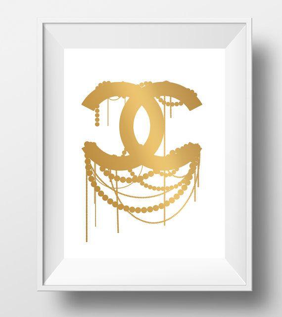 Gold coco chanel logo, gold chanel logo print, chanel wall art ...