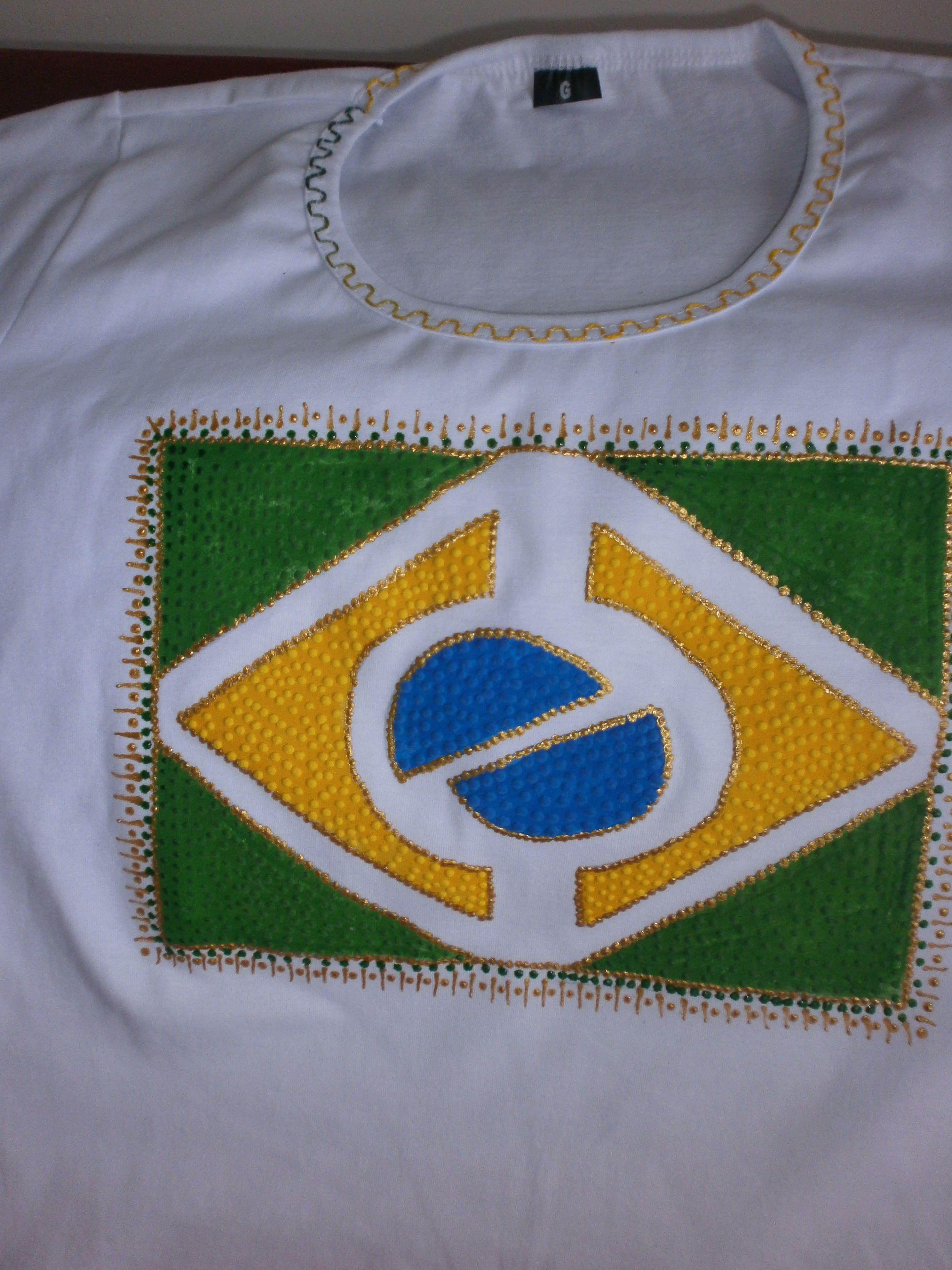 efc9c48b8 Babylook com Bandeira do Brasil - estilizada Copa Do Mundo