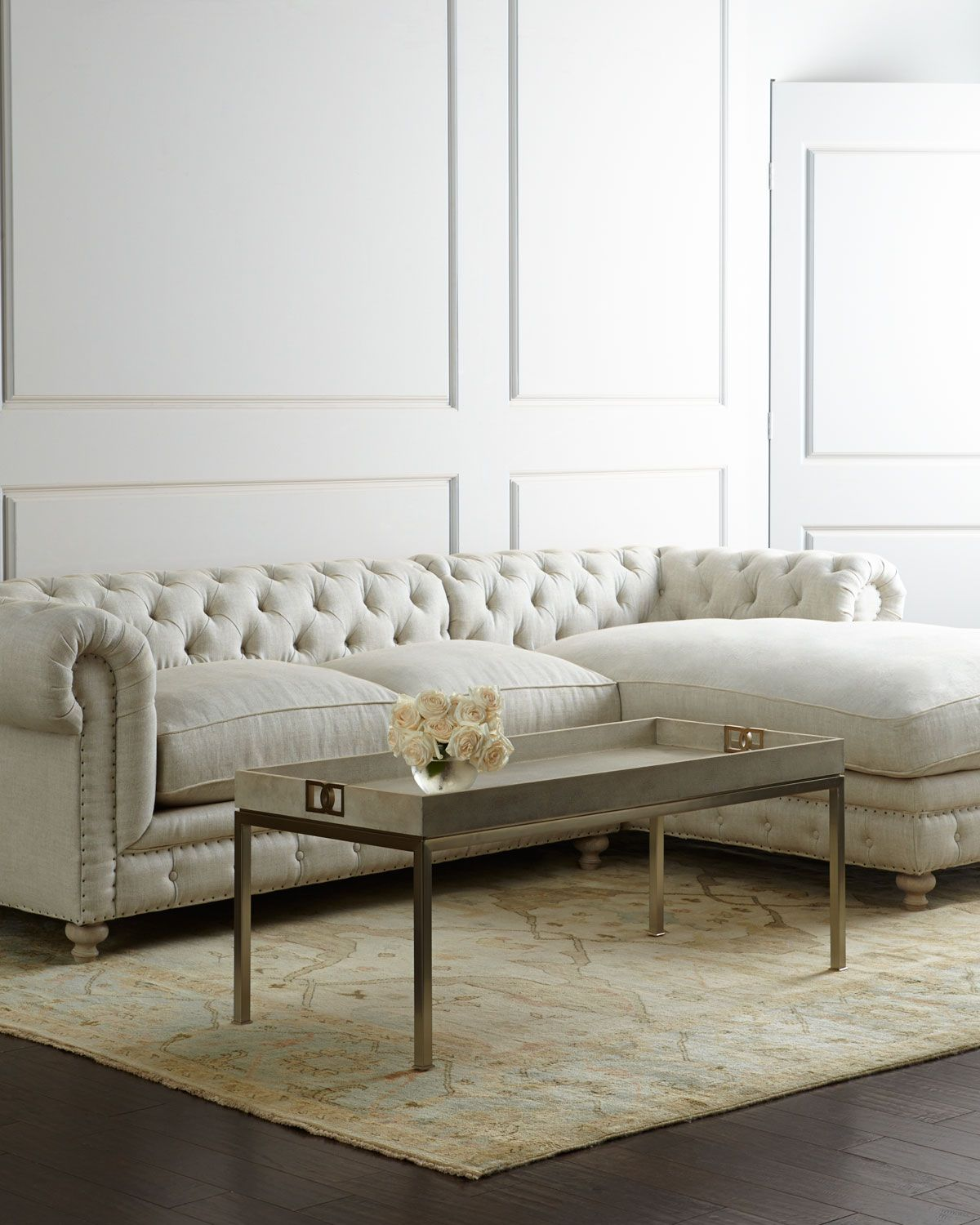 tufted linen sectional sofa 2 piece covers uk warner matching items neiman marcus