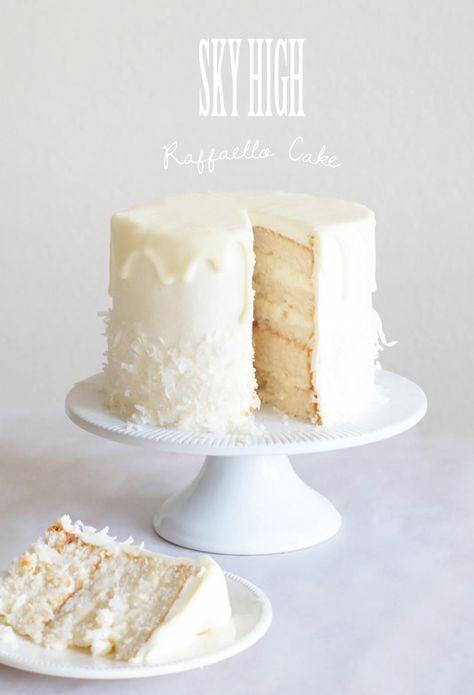 raffaello, coconut, almond, white chocolate, layer cake, frosting, icing, tutorial, sky high, bake, baking, recipe