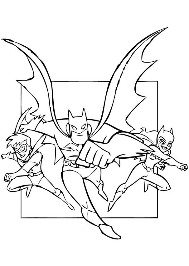 Color In This Superheroes Batman Robin And Batgirl Coloring Page More Free