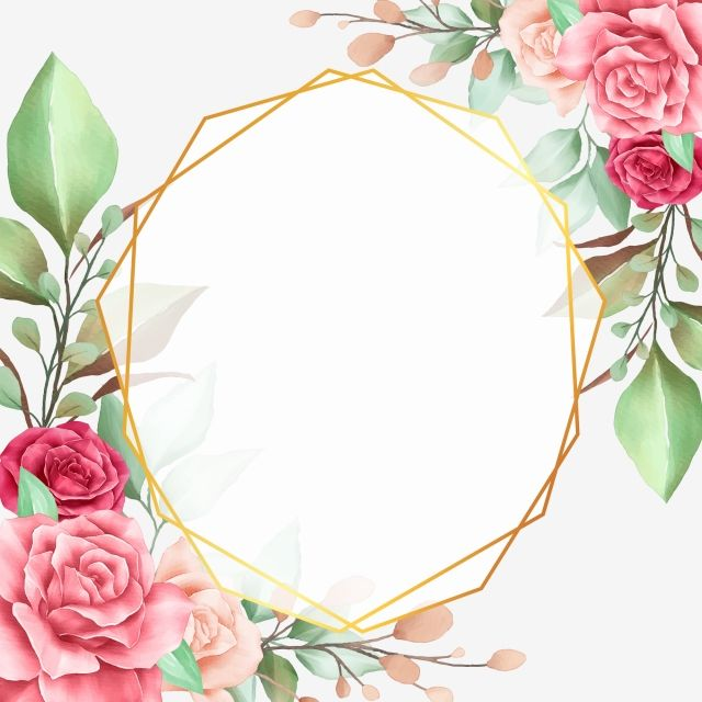 floral border with geometric frame for wedding invitation