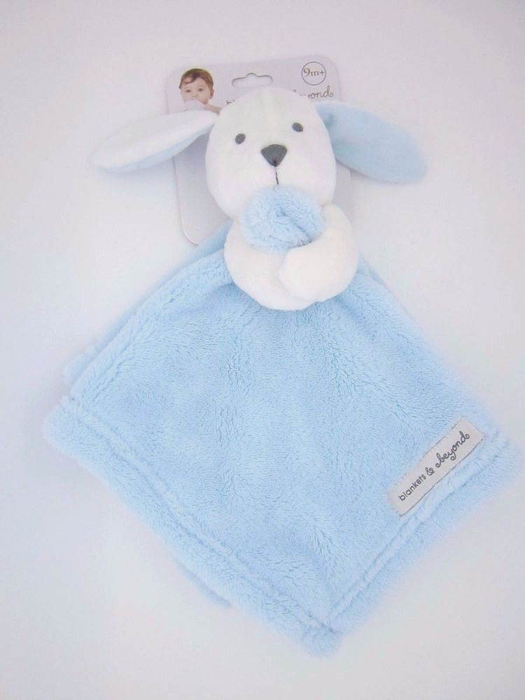 New Baby Nunu White Bunny Holding Baby Blue Security Blankets & Beyond #BlanketsBeyond
