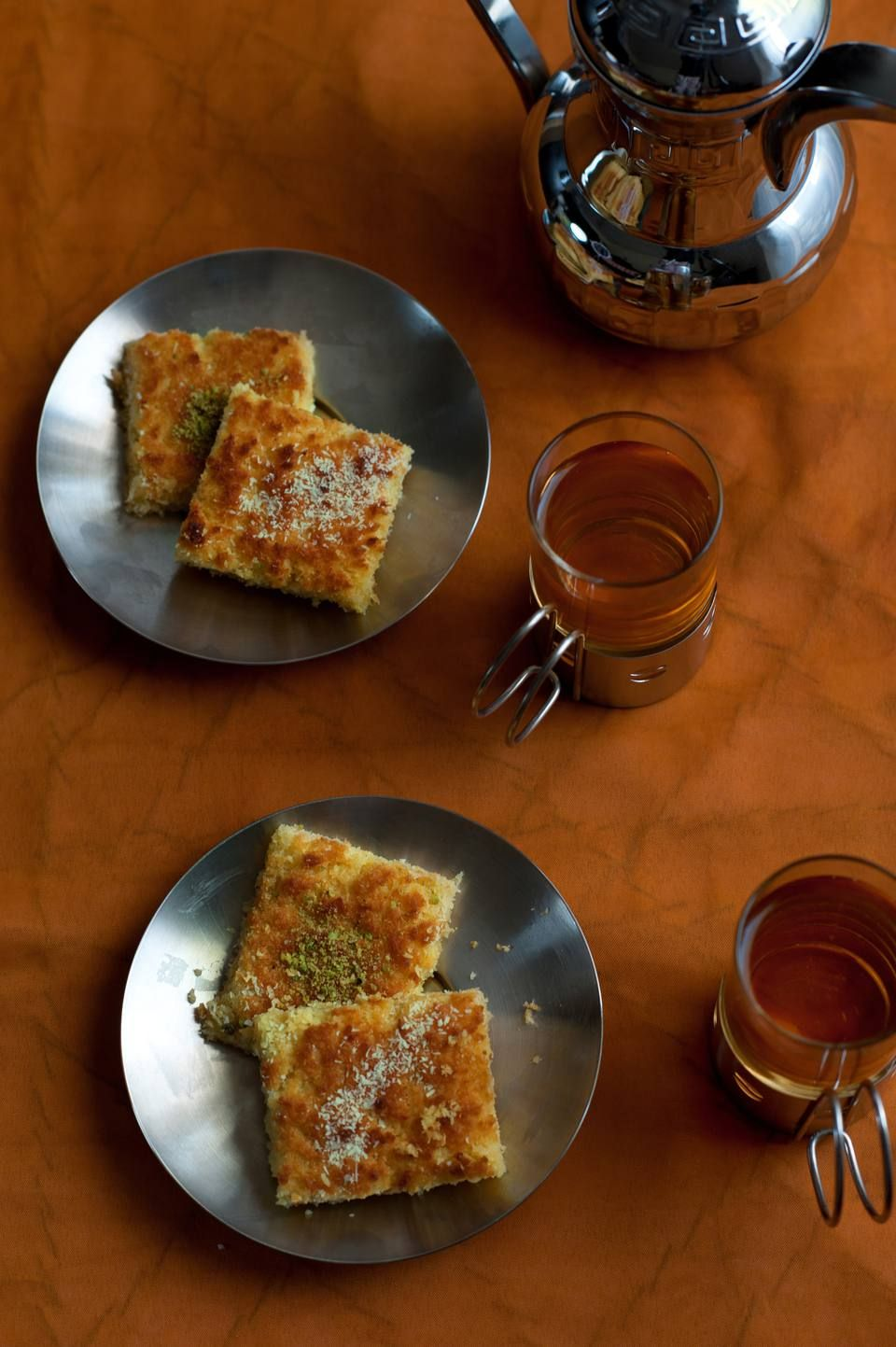 How to make basbousa semolina cakes with syrup recipe
