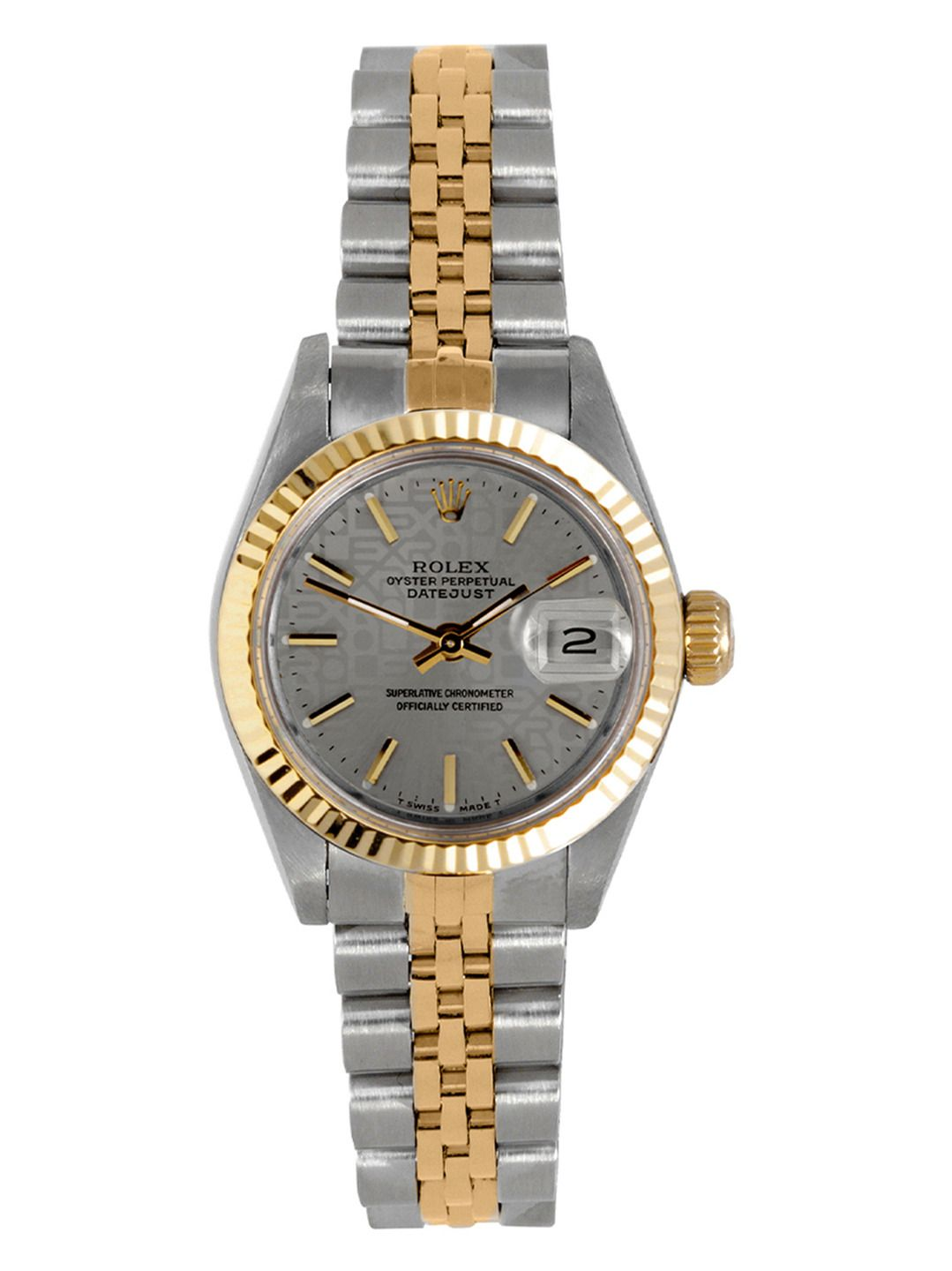 Rolex oyster perpetual datejust twotone patterned watch mm clock