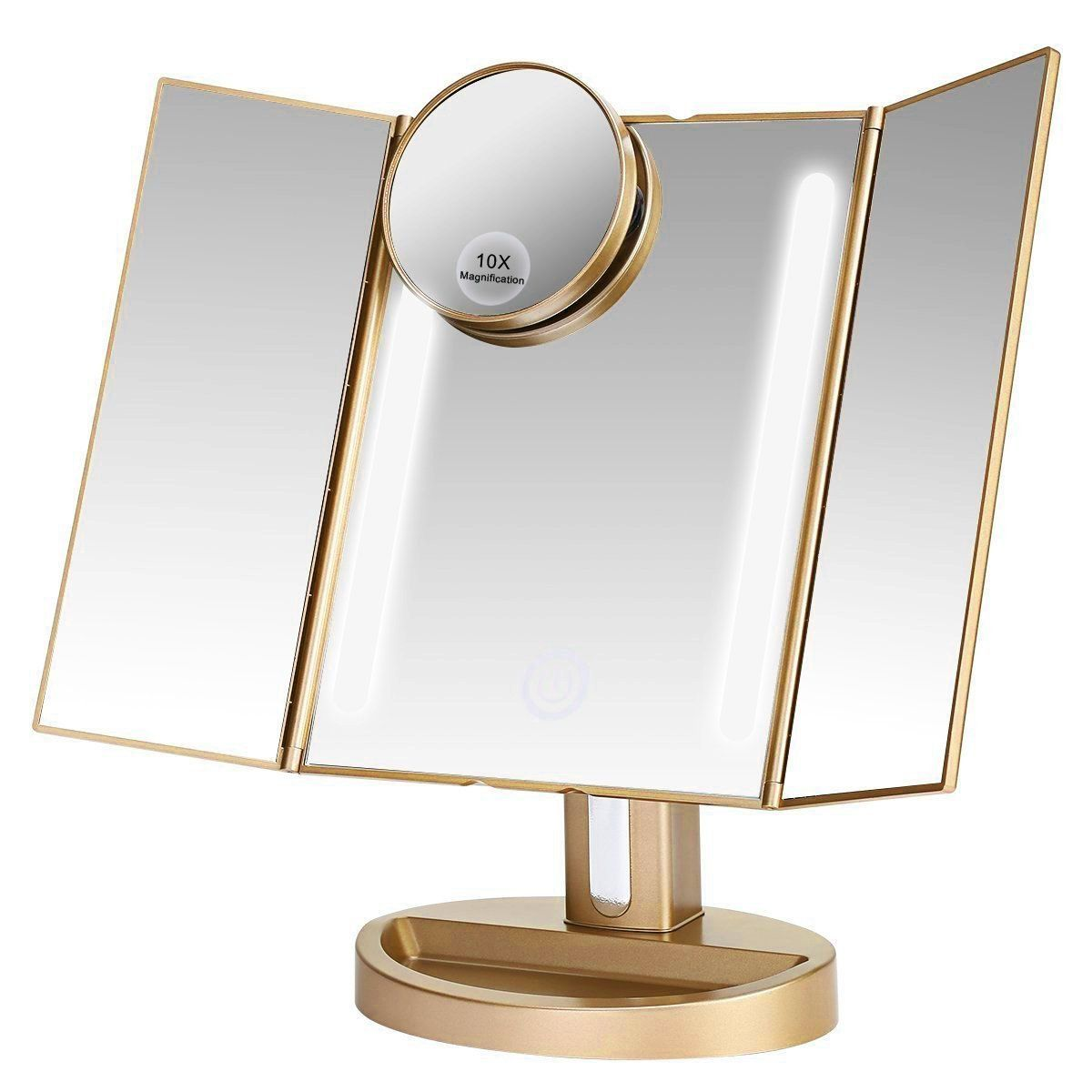 Amazon Com Assis Led Lighted Makeup Mirror With 10x Magnifying Natural Led Touch Screen And Auto Off Dual Pow With Images Lighted Vanity Mirror Makeup Mirror With Lights
