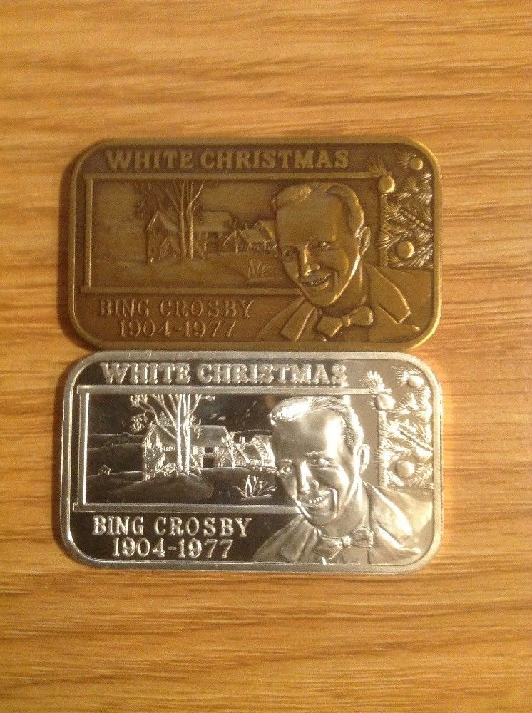 1 oz silver bar 999 Bronze Bing Crosby White Christmas 1904-77