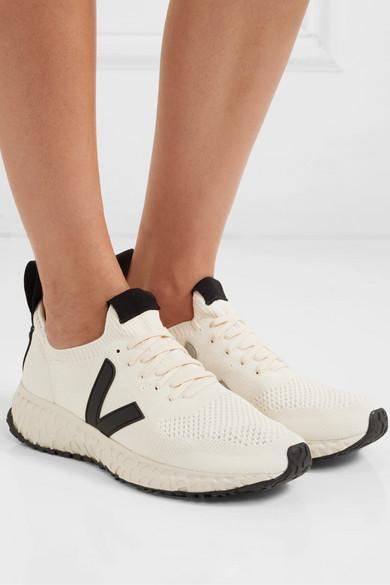 White Veja Vegan Leather Trimmed V Knit Sneakers Rick Owens Knit Sneakers Vegan Leather Leather