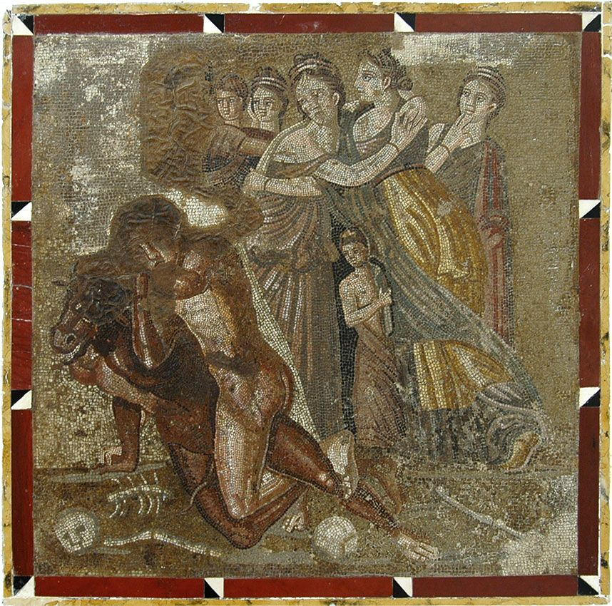 Fight of Theseus with Minotaur. Mosaic from Chieti. Inv. No. 10018.Naples, National Archaeological Museum.